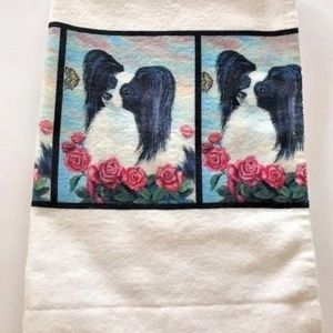 Other - Papillon hand towel Black White Dog New Handmade